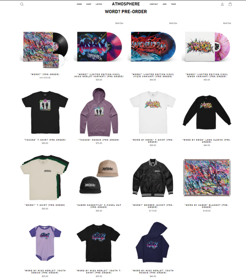 Atmosphere's Word Merch Collection